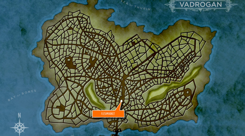 Map of Vadrogan with the Fleshmarket